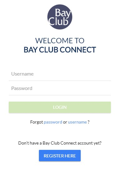 Bay Club Connect Login Screen