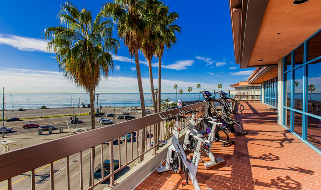 Pacific Palisades ocean facing patio with equipment