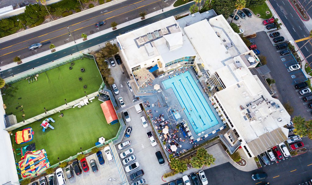 aerial with fields and pool