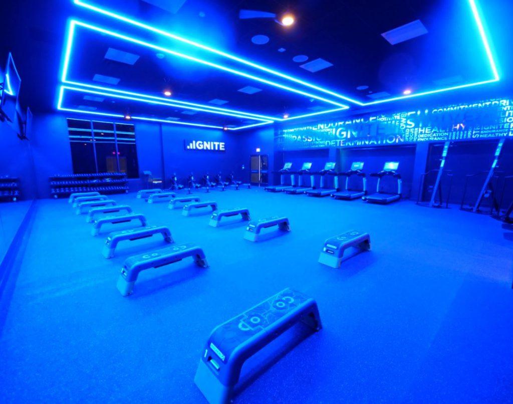 Cool blue lighting filling the new IGNITE studio at Bay Club El Segundo
