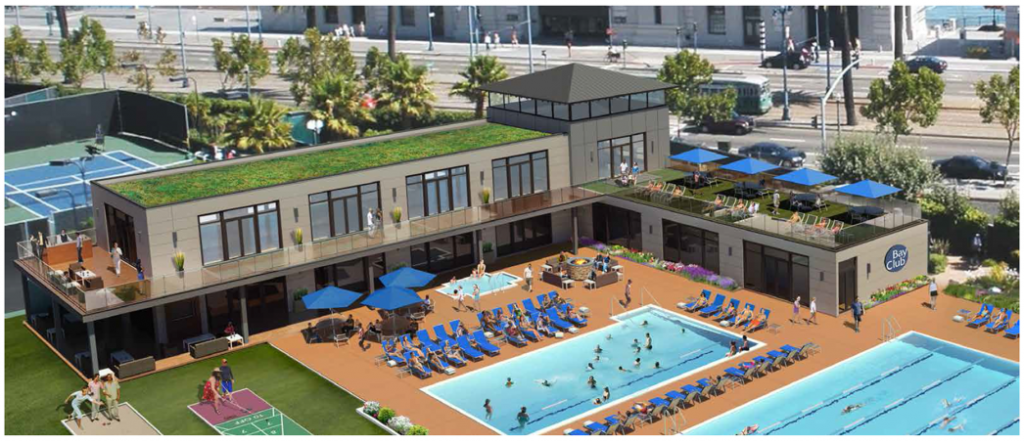 Rendering of the renovated pool deck area at Gateway.