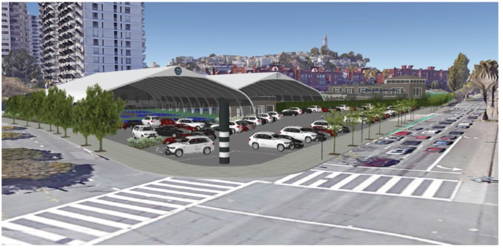 Street view rendering of the proposed tennis pavilions at Gateway.