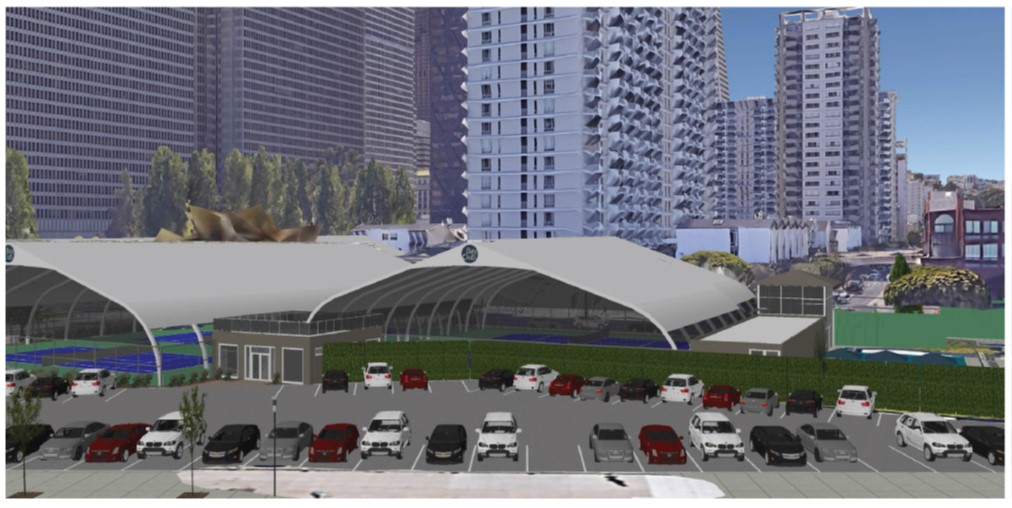 Rendering of the proposed tennis pavilions at Gateway.