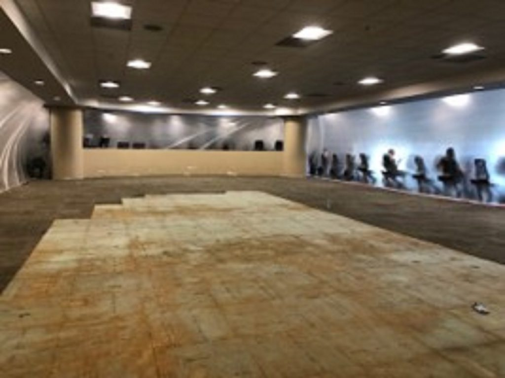 Walnut Creek fitness area demolition, in preparation for the new flooring.